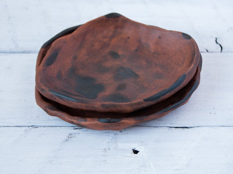 set of 2 hygge small plate pottery matte ceramic Jewelry dish brown ring holder farmhouse nordic provence earthy imperfect unique gift