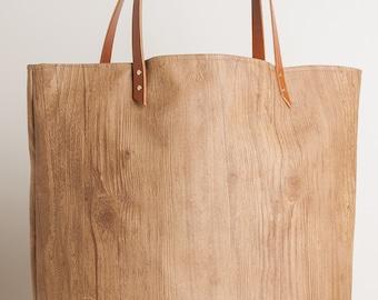 Large Vinyl Tote Bag, Faux Wood, Leather Straps