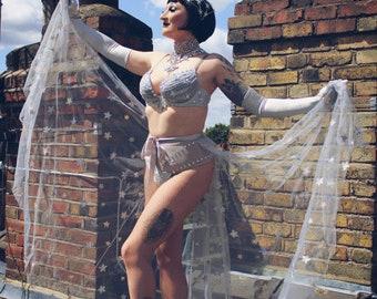 Sequin Star Tulle Skirt Burlesque Showgirl