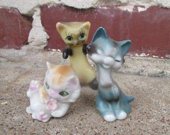 three little vintage kitty figurines, ceramic cat figurine, ceramic cat statue, siamese cat, small cat, miniature cat, retro cat, old cat