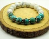Green Jasper and White Howlite Bracelet, Gemstone Bracelet, Stretch Bracelet