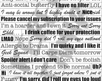 2 Funny & Quirky Printable Quote Sheets #1 and #2