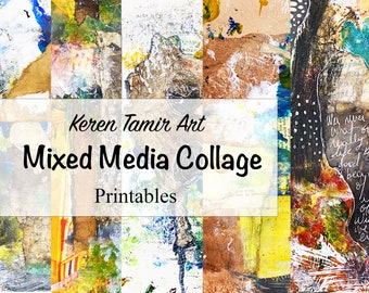 Mixed Media Collage Printable Papers #1