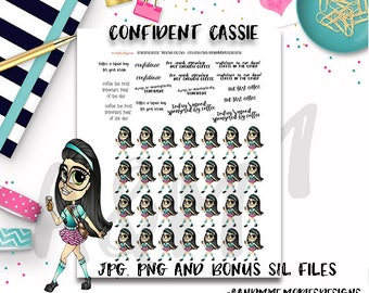 Functional/Character stickers//Printable Planner Stickers,  Fit EC Planners and Happy PlannerConfident Cassie Black Hair Planner Stickers