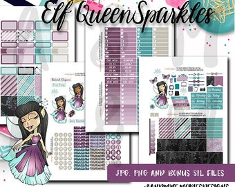 Weekly Kit//Printable Planner Stickers,  Fit EC Planners, Christmas, Winter Elf Queen Sparkles