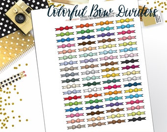 functional stickers//Printable Planner Stickers,  Fit all size planners, Colorful Bow Dividers