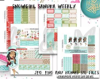 Weekly Kit//Printable Planner Stickers, Snowman, Snow Girl Sandra Weekly kit