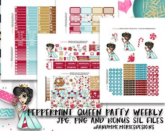 Weekly Kit//Printable Planner Stickers,  Fit EC Planners, Christmas, Winter Peppermint Queen Patty