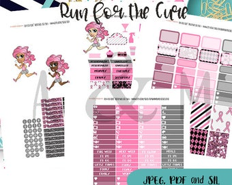 Weekly Kit//Printable Planner Stickers, fits Erin Condren, Breast Cancer Awareness, Run for the Cure Planner stickers