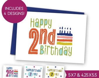 Second Birthday Printable Greeting Card Bundle Childrens 2nd Cards Kids E Toddler Party S1212