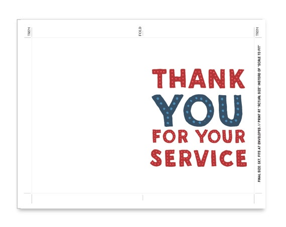 Veterans Day Printable Card Thank You For Your Service Note Etsy