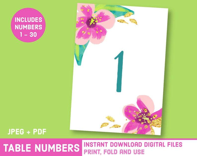 Printable Hawaii Wedding Hibiscus Table Numbers Watercolor Etsy