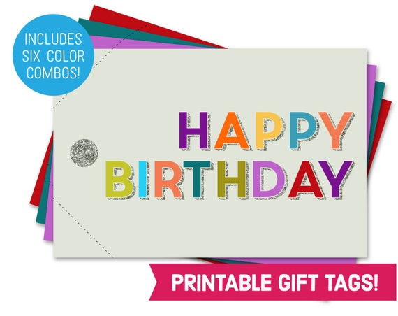 Happy Birthday Card Printable Gift Tag Bundle Etsy