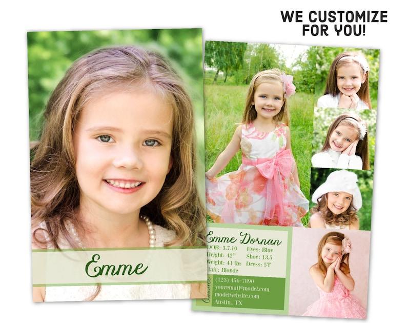 Custom Model Comp Card - Customizable Children's Sed Card - Custom Kids Zed  Card - Modeling Agency Z- Card - Girl's Comp Card - S1123