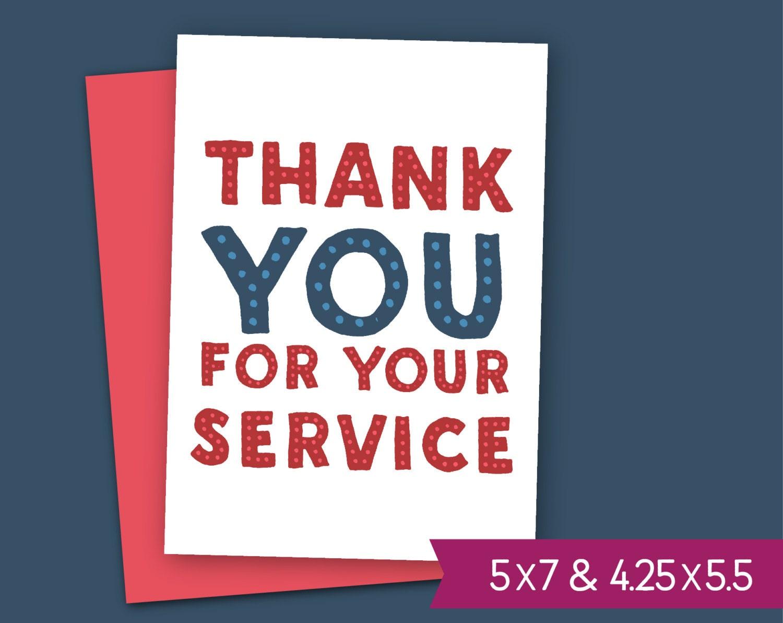 Día de los veteranos para imprimir tarjeta gracias por tu | Etsy