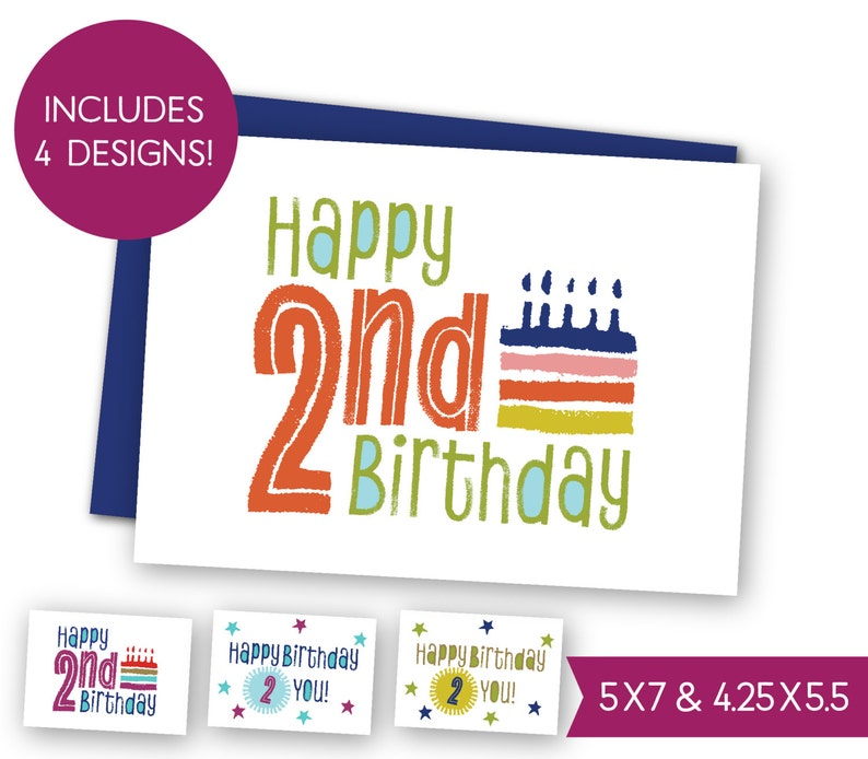 Second Birthday Printable Greeting Card Bundle Childrens 2nd