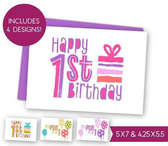 First Birthday Printable Greeting Card Bundle Childrens 1st