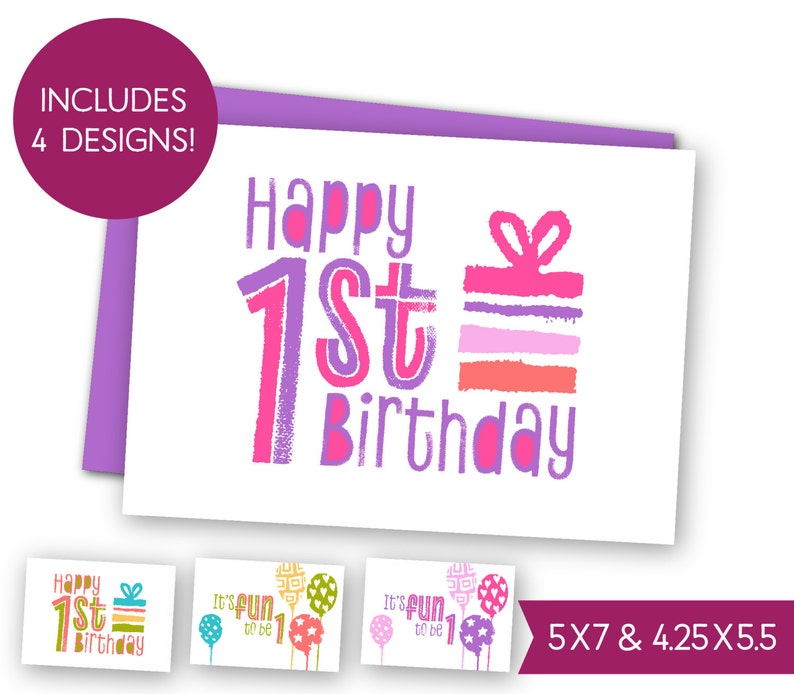 First Birthday Printable Greeting Card Bundle Childrens 1st