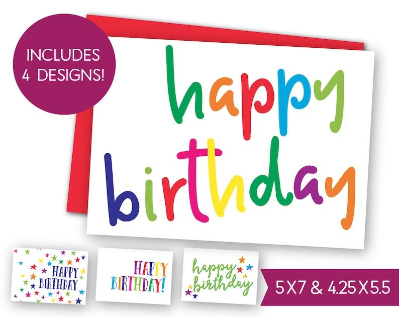 Happy Birthday Printable Card Bundle Instant Download B Day