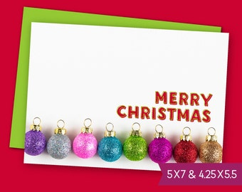 Merry Christmas Ornaments Printable Card - Be Merry Greeting Card, Happy X-Mas Baubles E-Card, Digital Download Holiday Card to Print S1452