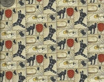 Debbie Mumm Quilting Cotton Fabric Cream Pumpkins & Cats 129545 - 1/2 Yard