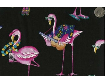 Timeless Treasures Quilting Cotton Fabric Flamingos on Black Background 126590 - 1/2 Yard
