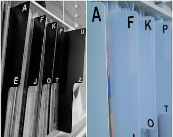 """5pc. A-Z Shelf Divider Cards for 33rpm Dj 12"""" LP Vinyl Record Albums Black or White Plastic with Abbreviated Alphabet Index Tab Front & Back"""