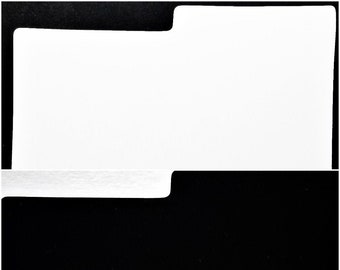 """25 Divider Cards for 33rpm Dj 12"""" LP Vinyl Record Albums - Black or White - Blank Plastic with Index Tab"""