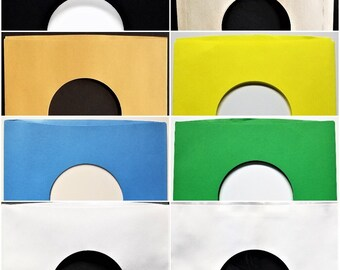 """100 Paper Sleeves for 7"""" 45rpm Vinyl Records - Black Blue Gold Brown Yellow Green Polylined White - inner outer Cover goes over 45"""