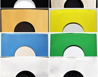 """10 Paper Sleeves for 7"""" 45rpm Vinyl Records - Black Blue Gold Brown Yellow Green Polylined White - inner outer Cover goes over 45"""