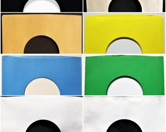 """Paper Sleeves for 7"""" 45rpm Vinyl Records - Black Blue Gold Brown Yellow Green Polylined White - inner outer Cover goes over 45 - 5 10 25 50"""