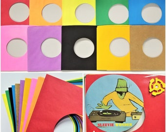 "10 - 45rpm Paper Sleeves - Red Black Blue Pink Purple Green Yellow Orange Brown Cheddar - 7"" 45 DJ Vinyl Record Color Combo Sampler"