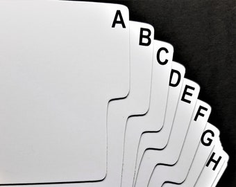 A-Z Shelf Divider Cards for CD - 26 Narrow Plastic Abc Dividers - Front and Back