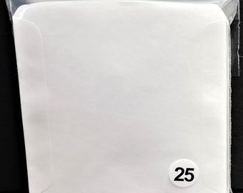 CD Sleeves (25) Wax Paper Pouch Inserts Inner Outer Protector Disc Cover White