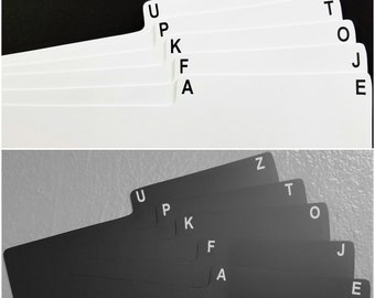 """5pc. A-Z Box Divider Cards for 33rpm Dj 12"""" LP Vinyl Record Albums - Black or White Plastic with Abbreviated Alphabet Index Tab Front & Back"""