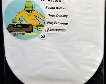"""50 Round Bottom Inner Sleeves for 12"""" 33rpm LP Vinyl Record Albums Made in Japan Hdpe Plastic Poly Covers"""