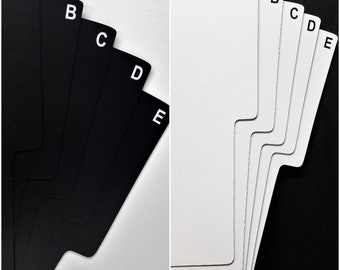 """One Sided 26 A-Z Shelf Divider Cards for 33rpm Dj 12"""" LP Vinyl Record Albums - Black or White Plastic with Alphabet Index Tab on One Side"""
