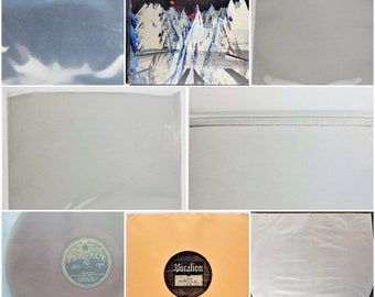 """10 Plastic / Paper Sleeves for 10"""" + 78rpm Vinyl Records Outer Inner x2 10"""" Gatefold 3.5mil Frosted Polylined Mylar Round Bottom Resealable"""