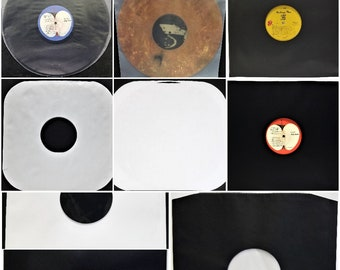 """LP Inner Sleeves (100) 12"""" Vinyl Record: 2mil Black Plastic - 3.5mil Frosted - Black Paper - Round Edge - Round Bottom - UK & USA Polylined"""