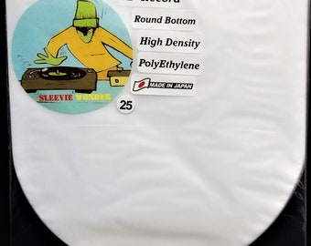 """25 Round Bottom Inner Sleeves for 12"""" 33rpm LP Vinyl Record Albums Made in Japan Hdpe Plastic Poly Covers"""
