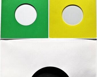 "Bulk Wholesale Paper Sleeves for 7"" 45 Vinyl Records - Green Yellow White - 1000 2000"