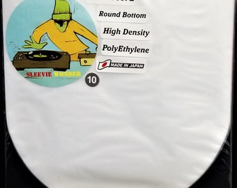 """10 Round Bottom Inner Sleeves for 12"""" 33rpm LP Vinyl Record Albums Made in Japan Hdpe Plastic Poly Covers"""