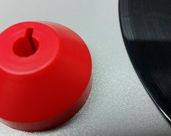 10 Red Dome Plastic Adapters for Seven Inch 45rpm Vinyl Records