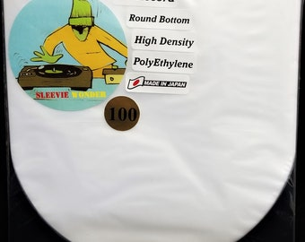 """100 Round Bottom Inner Sleeves for 12"""" 33rpm LP Vinyl Record Albums Made in Japan Hdpe Plastic Poly Covers"""