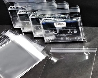 Cassette Tape Outer Sleeves - Resealable Plastic Case Covers - 1.6mil Horizontal Top Load Poly Bags 10 25 50 100 200 300 1000 2000 3000