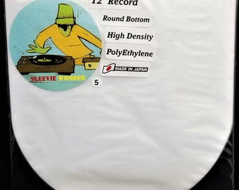 """5 Round Bottom Inner Sleeves for 12"""" 33rpm LP Vinyl Record Albums Made in Japan Hdpe Plastic Poly Covers"""