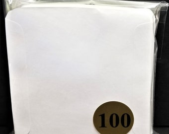 CD Sleeves (100) Wax Paper Pouch Inserts Inner Outer Protector Disc Cover White
