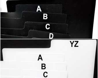 """25 A-Z Box Divider Cards for 33rpm Dj 12"""" LP Vinyl Record Albums - Black or White - Abc Screen Printed Plastic with Alphabet Index Tab"""