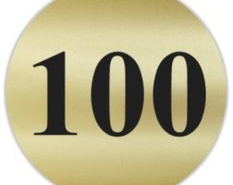 "Number 100 Gold & Black 1.5"" Round Matte Stickers Score / Inventory Label"