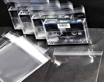 Cassette Tape Outer Sleeves (200) Resealable Plastic Case Covers - Horizontal Top Load Poly Bags - 1.6mil Polypropylene + Seal Up